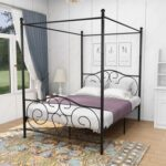 New Full Size Canopy Platform Bed Frame with Headboard and Metal Slats Support, No Box Spring Needed (Only Frame) – Black