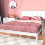 New Queen Size Platform Bed Frame with Headboard and Wooden Slats Support (Only Frame) – White