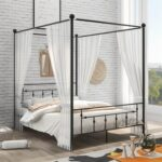 New Queen Size Canopy Platform Bed Frame with Headboard and Metal Slats Support, No Box Spring Needed (Only Frame) – Black