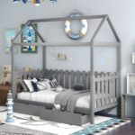 New Twin Size House-Shaped Platform Bed Frame with 2 Storage Drawers, Fence-shaped Guardrail, and Wooden Slats Support, No Box Spring Needed (Only Frame) – Gray