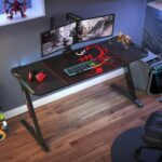 New Home Office 60″ Computer Desk with RGB LED Lights, Wooden Tabletop and Metal Frame, for Game Room, Small Space, Study Room – Black