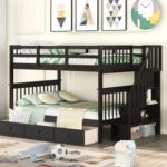 New Full-Over-Full Size Bunk Bed Frame with Drawers, Storage Shelves, and Wooden Slats Support, for Kids, Teens, Boys, Girls (Frame Only) – Espresso