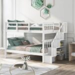 New Full-Over-Full Size Bunk Bed Frame with Storage Stairs, Ladder, and Wooden Slats Support, for Kids, Teens, Boys, Girls (Frame Only) – White