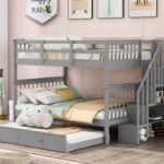 New Full-Over-Full Size Bunk Bed Frame with Twin-Size Trundle, Storage Shelves, and Wooden Slats Support, for Kids, Teens, Boys, Girls (Frame Only) – Gray