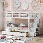 New Twin-Over-Twin Size Detachable Bunk Bed Frame with Drawers, Storage Shelves, and Wooden Slats Support, for Kids, Teens, Boys, Girls (Frame Only) – White