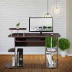 New Techni Mobili 46.5″ Computer Desk with Slide-out Keyboard Tray, Storage Shelves, and MDF Frame, for Game Room, Small Space, Study Room – Chocolate