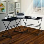 New Techni Mobili Home Office L-Shaped Computer Desk with Glass Tabletop and Metal Frame, for Game Room, Small Space, Study Room – Black