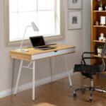 New Techni Mobili Home Office Computer Desk with Storage Drawer, MDF Tabletop and Metal Frame, for Game Room, Small Space, Study Room – Oak
