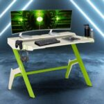 New Techni Home Office Gaming Desk with Cup Holder, Headphone Hook, MDF Tabletop and Metal Frame, for Game Room, Small Space, Study Room – Green
