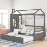 New Twin Size House-shaped Platform Bed Frame with Twin Size Trundle and Wooden Slats Support, No Box Spring Needed (Only Frame) – Gray