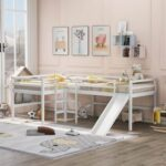New Twin-Size L-Shaped Loft Bed Frame with Built-in Ladders, Slide, and Wooden Slats Support, No Box Spring Required, for Kids, Teens, Boys, Girls (Frame Only) – White
