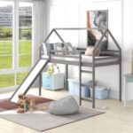 New Twin-Size House-Shaped Loft Bed Frame with Slide and Wooden Slats Support, No Box Spring Required, for Kids, Teens, Boys, Girls (Frame Only) – Gray