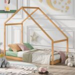 New Twin Size House-shaped Platform Bed Frame, Box Spring Needed (Only Frame) – Natural