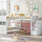 New Twin-Over-Twin Size L-Shaped Bunk Bed Frame with Ladder, Storage Stairs, and Wooden Slats Support, for Kids, Teens, Boys, Girls (Frame Only) – White