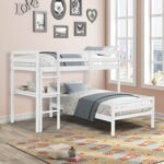 New Twin-Over-Twin Size L-shaped Bunk Bed Frame with Desk, Ladder, and Wooden Slats Support, for Kids, Teens, Boys, Girls (Frame Only) – White