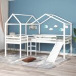 New Twin-Size House-Shaped Loft Bed Frame with Slide, Ladder, and Wooden Slats Support, No Box Spring Required, for Kids, Teens, Boys, Girls (Frame Only) – White