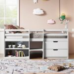 New Twin-Size Loft Bed Frame with 2 Storage Drawers, 2 Shelves, and Wooden Slats Support, No Box Spring Required, for Kids, Teens, Boys, Girls (Frame Only) – White