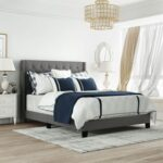 New Queen Size Linen Fabric Upholstered Platform Bed Frame with Headboard and Wooden Slats Support, Box Spring Needed (Only Frame) – Gray