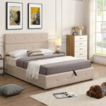 New Full Size Upholstered Platform Bed Frame with Storage Space, Headboard and Wooden Slats Support, No Box Spring Needed (Only Frame) – Beige