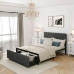 New Full Size Upholstered Platform Bed Frame with Storage Drawer, Headboard, and Metal Slats Support, No Box Spring Needed (Only Frame) – Gray