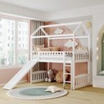 New Twin-Size House-Shaped Loft Bed Frame with Slide, Ladder and Wooden Slats Support, No Box Spring Required, for Kids, Teens, Boys, Girls (Frame Only) – White