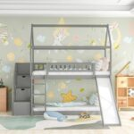 New Twin-Over-Twin Size Bunk Bed Frame with Storage Stairs, Slide, and Wooden Slats Support, for Kids, Teens, Boys, Girls (Frame Only) – Gray
