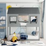 New Twin-Over-Twin Size House-shaped Bunk Bed Frame with Ladder, and Wooden Slats Support, for Kids, Teens, Boys, Girls (Frame Only) – Gray