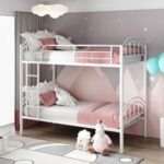 New Twin-Over-Twin Size Detachable Bunk Bed Frame with Ladder, and Metal Slats Support, for Kids, Teens, Boys, Girls (Frame Only) – White