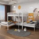 New Twin-Over-Twin Size L-Shaped Bunk Bed Frame with Ladder, and Wooden Slats Support, No Spring Box Required (Frame Only) – White