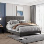 New Queen-Size Linen Fabric Upholstered Platform Bed Frame with Tufted Headboard and Wooden Slats Support, Box Spring Needed (Only Frame) – Gray